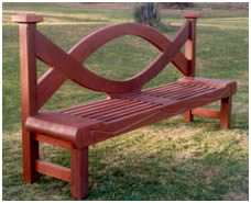 Beautiful Sculptural Wooden Garden Bench commissioned by Elizabeth Evatt of Leuralla, Leura, Blue Mountains