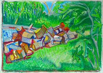Woodpile and figtree painting
