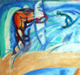 "Detail ""On the Beach"" painting"